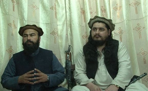 Video grab of the joint press interaction of Pakistan Taliban chief Hakimullah Mehsud and his deputy Wali-ur Rehman