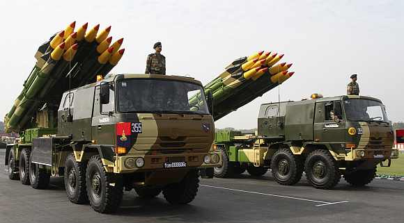 The Indian Army's multiple launch rocket system Smerch is displayed during the Army Day parade in New Delhi