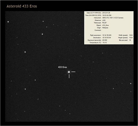 Image of Asteroid 433 Eros on January 30, 2012 dirakamkan menerusi 20-inch diameter telescope at the Observatory State of Langkawi