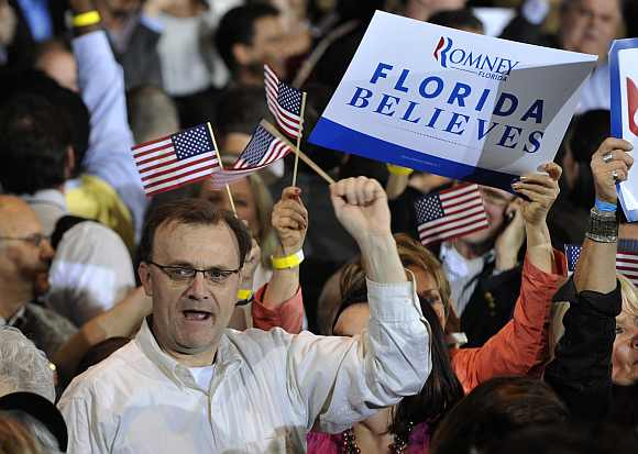 A supporter of Romney at his Florida primary night rally in Tampa