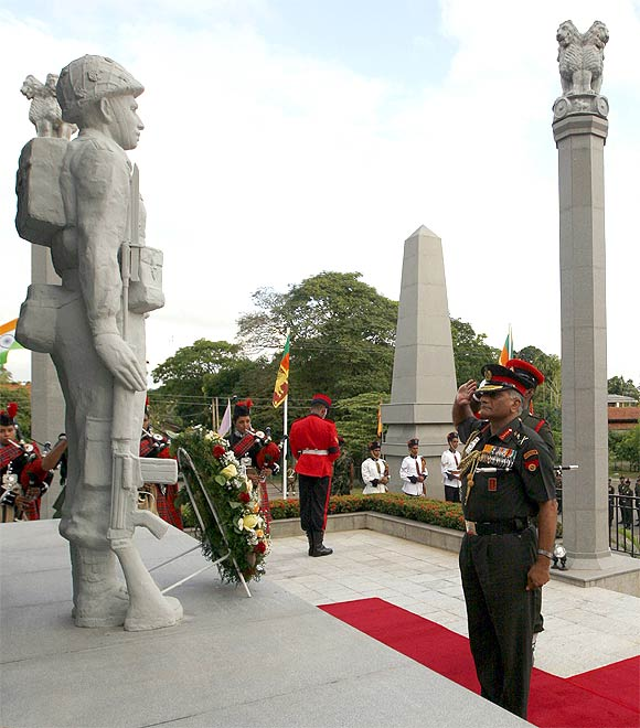 Army chief General V K Singh at an Indian Peace Keeping memorial in Colombo, Sri Lanka