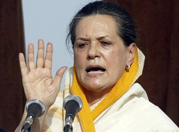File image of Congress president Sonia Gandhi addressing a campaign rally in UP