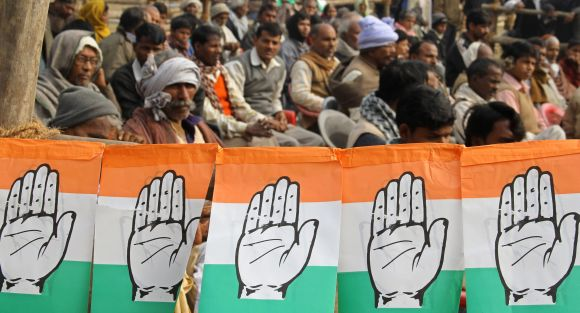 Supporters of Congress attend a campaign rally in Gorakhpur