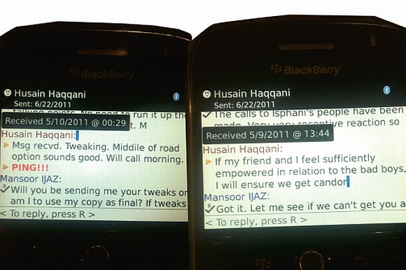 Screenshot shows 6/22/2011 as the date of Mansoor Ijaz's last BlackBerry communication with Haqqani