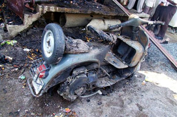 The debris of a scooter at the blast site in Nanded, Maharashtra, in 2006