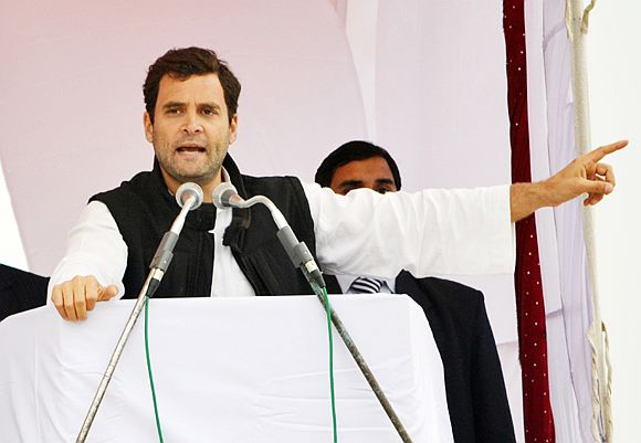 Rahul Gandhi addressing an election rally in Meerut