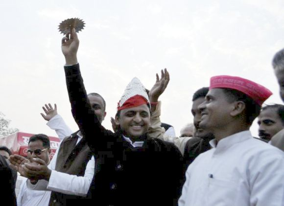Akhilesh Yadav at an election rally