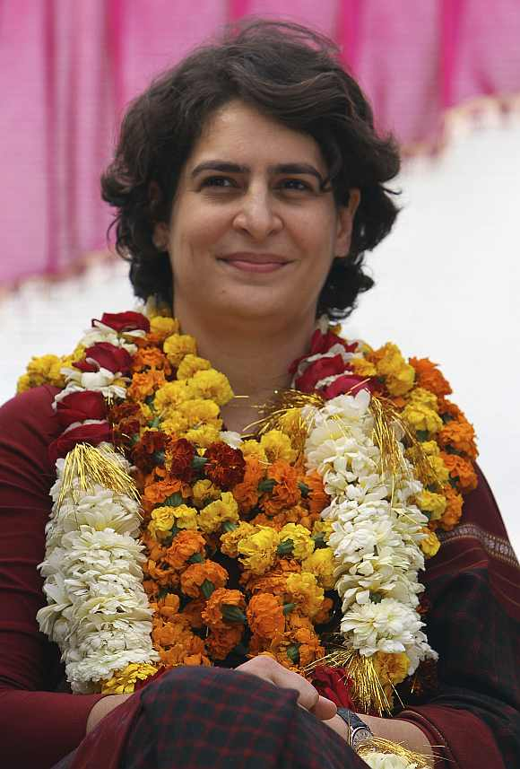 Priyanka Gandhi attends an election campaign rally at Amethi