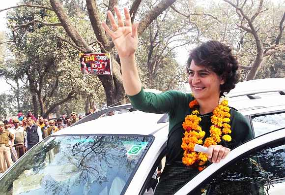 Priyanka Gandhi waves to her supporters