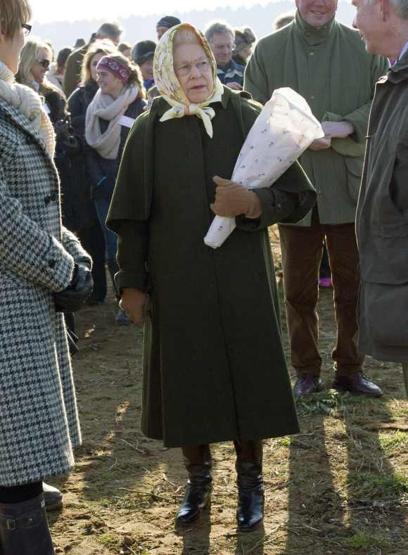 Queen Elizabeth attends a tree planting ceremony in the Diamond Jubilee Wood on her Sandringham Estate in Norfolk, eastern England February 3