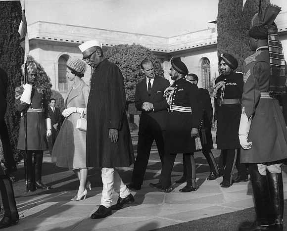 Queen Elizabeth II with Indian President Rajendra Prasad and Prince Philip at a reception at Rashtrapati Bhavan on January 27, 1961, after the Republic Day Parade during the royals' visit to India