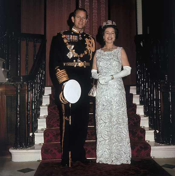 Queen Elizabeth II and Prince Philip Duke of Edinburgh on the occasion of their 25th silver wedding anniversary celebrations held at Buckingham Palace, 20th November 1972