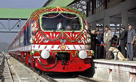 Kashmir's first-ever train about to depart Srinagar station