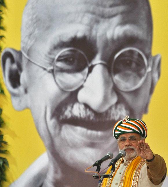 Gujarat Chief Minister Narendra Modi addresses a gathering in Godhra