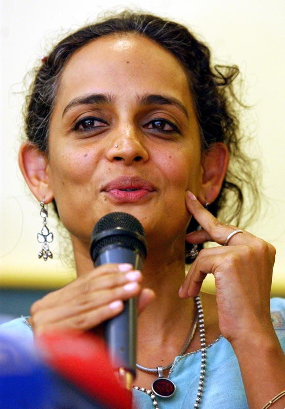Arundhati Roy addresses a news confrence in Istanbul