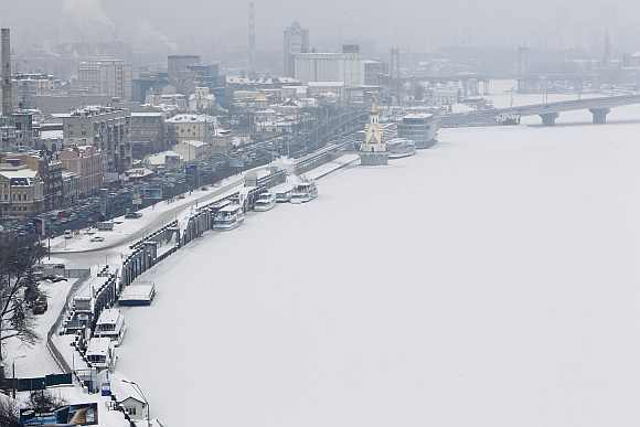 A view of the frozen River Dnieper in an air temperature around minus 18 degree Celsius in snow covered central Kiev