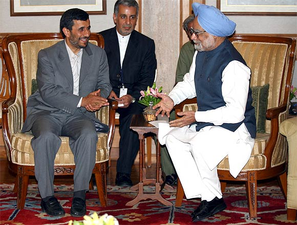 A file photo of Iranian President Mahmoud Ahmadinejad with Prime Minister Manmohan Singh