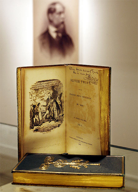 An inscribed copy of Charles Dickens' 'Oliver Twist' displayed at Christie's auction house in New York