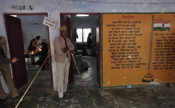 A polling station in Ayodhya, Uttar Pradesh