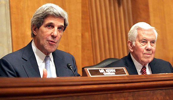 Senator John Kerry, Chairman Senate Foreign Relations Committee and Ranking Member Senator Richard Lugar during the confirmation hearing for Powell