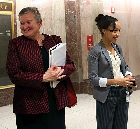 Powell comes out of the Senate Building after her confirmation hearing at the Senate Foreign Relations Committee in Washington DC