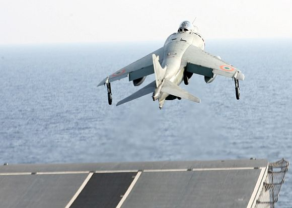 A Sea Harrier jet takes off INS Viraat