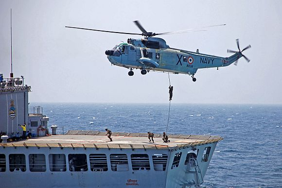 A Sea King helicopter in action