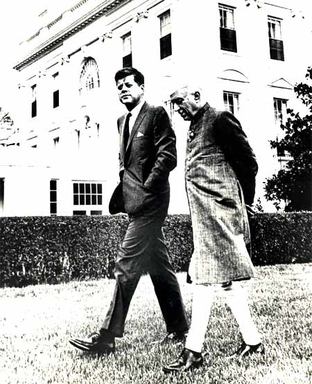 Jawaharlal Nehru, India's first prime minister, with then US President John F Kennedy