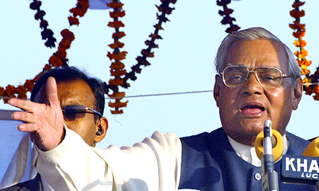 Atal Bihari Vajpayee at an election rally in Faizabad, UP in 2004.