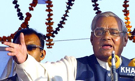 Atal Bihari Vajpayee at an election rally in Faizabad, UP in 2004.