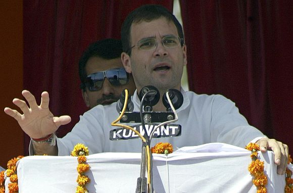 Congress general secretary Rahul Gandhi addressing a campaign rally in UP