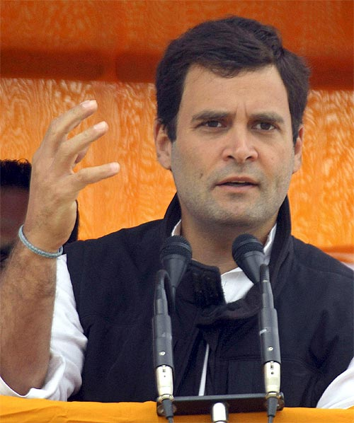 Rahul Gandhi during an election rally in Gorakhpur, Uttar Pradesh.