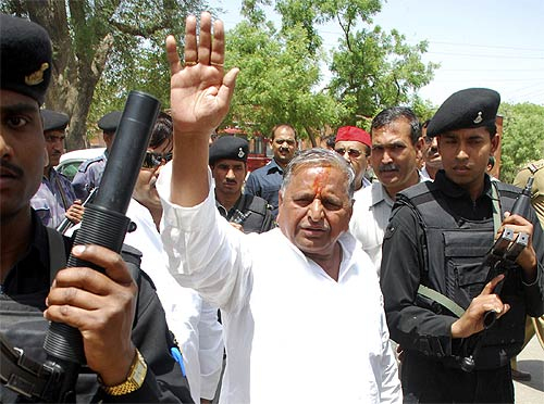 Samajwadi Party chief Mulayam Singh Yadav in Mainpuri, UP