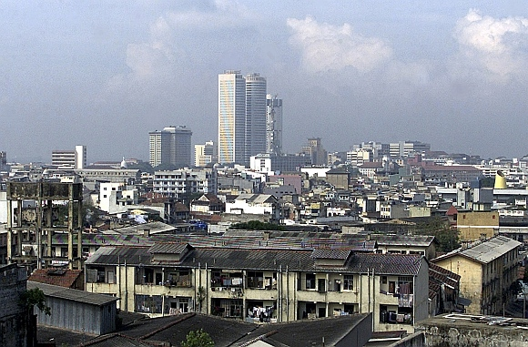Colombo's tallest buildings, the 39-storey twin towers of the World Trade Center, rise over the financial centre of Sri Lanka's capital