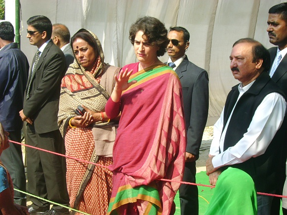 A file photo of Priyanka Gandhi campaigning in UP