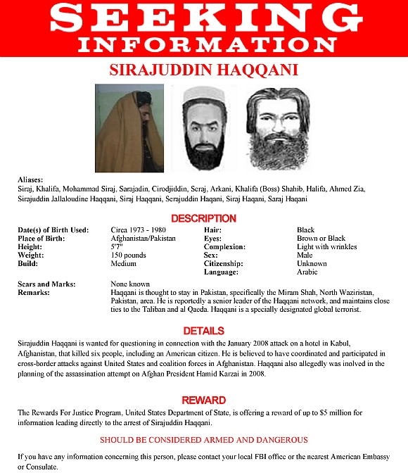 The wanted poster issued by Federal Bureau of Investigation for Sirajuddin Haqqani