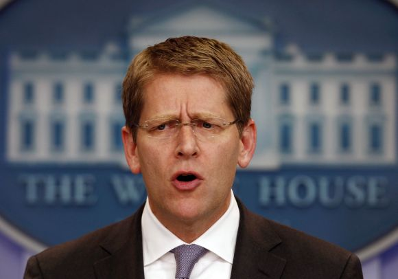 White House Press Secretary Jay Carney addressing mediapersons in Washington, DC