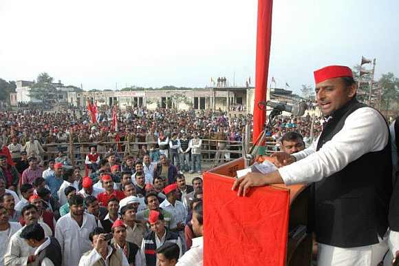 Akhilesh Yadav addresses his supporters at a rally
