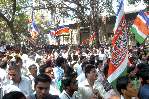 MNS supporters celebrate