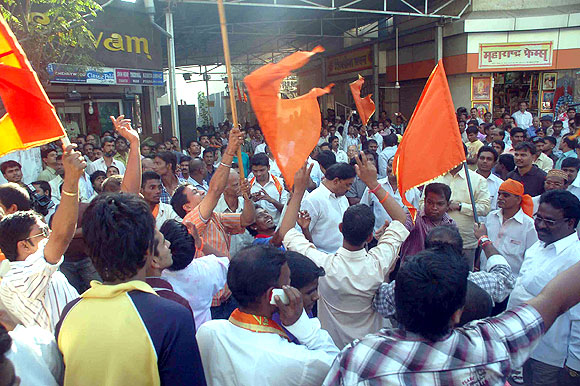 Shiv Sena supporters celebrate