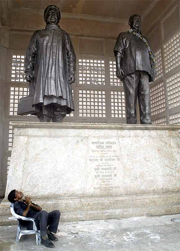 Bronze statues of Mayawati and Kanshi Ram