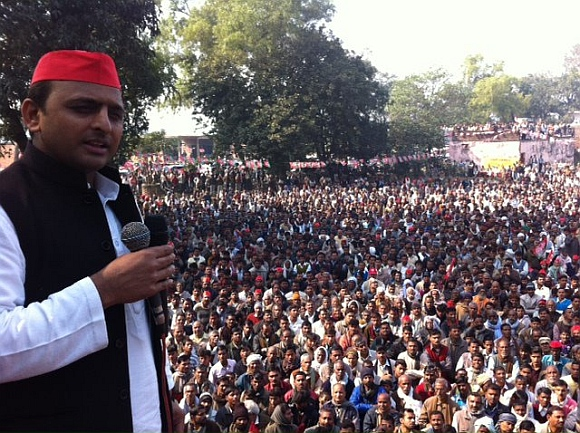 Akhilesh Yadav at a campaign rally