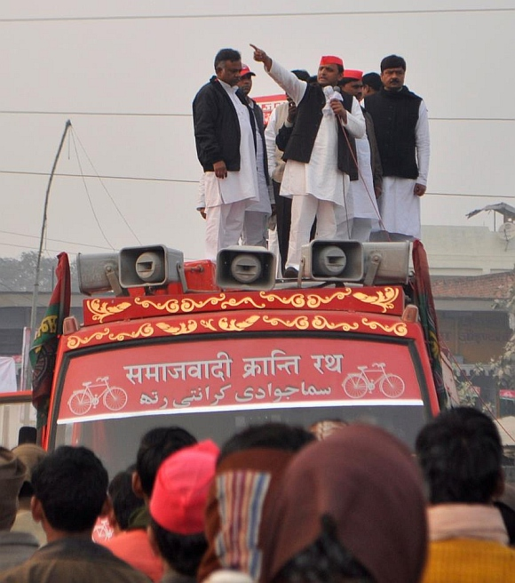Samajwadi Party leader Akhilesh Yadav, who has been drawing large crowds in his election campaigns