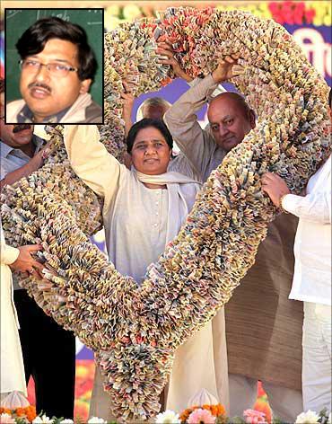 Uttar Pradesh Chief Minister Mayawati. Inset: Dr Arvind Mohan