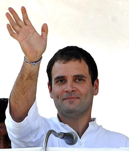 Rahul Gandhi at an election rally