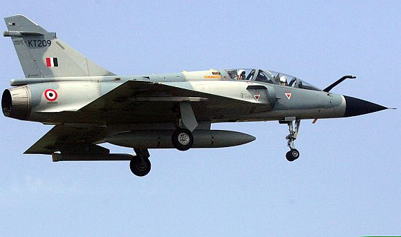 An IAF 'Mirage 2000' aircraft flies d