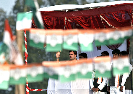 Rahul Gandhi at an election rally in Hardoi, UP.
