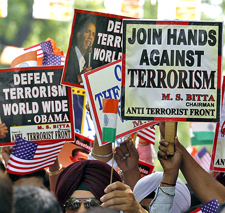 Members of the All India Anti-Terrorist Front in New Delhi.