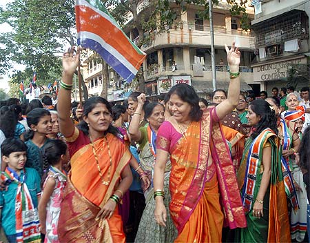 MNS workers celebrate the party's strong showing in the Mumbai civic election
