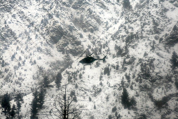 An Army helicopter taking part in rescue operations